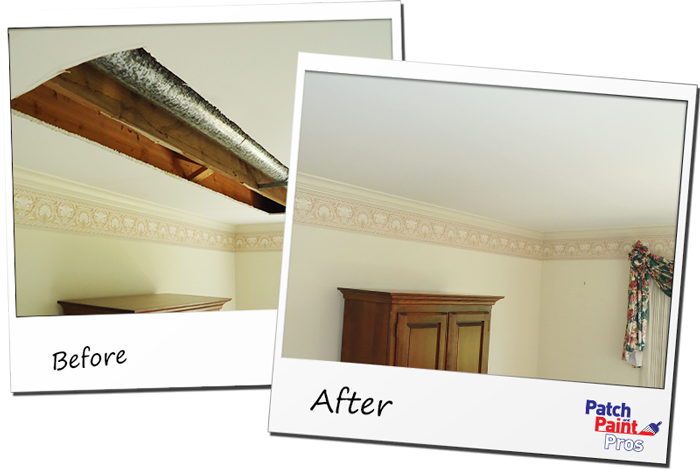 Ceiling Repair and Painting Company Before and After Photo