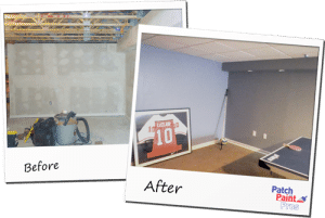 Before and after basement painting in Berwyn, PA